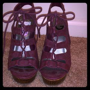 Maroon / Dark purple tie up wedges